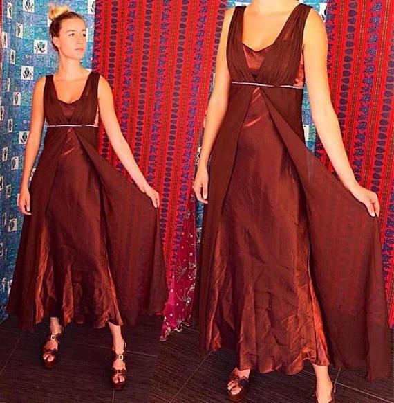Vestido de fiesta Rhinestone Grecian de gasa vestido de noche Vintage años 80 niveles vestido de Gasa