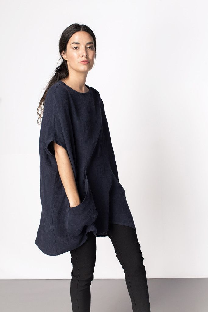 Harper Tunic - big relaxed flowy blue tunic. Body unconscious!