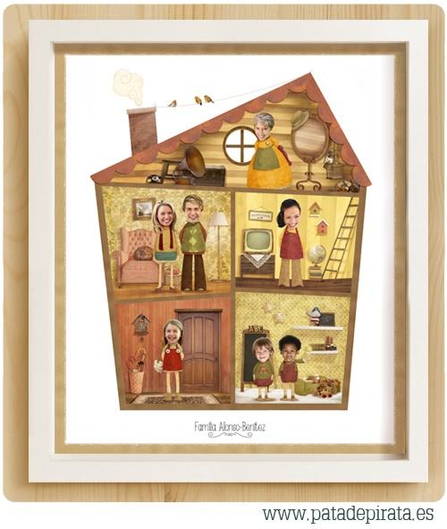 Para las familias pequeñitas, nuestro ÁRBOL GENEALÓGICO en versión MINI.  Un regalo muy especial. El mejor detalle para llegar al corazoncito de mamás y abuelitos en el Día de la Madre, cumpleaños o Reyes: Nuestro árbol genealógico, en formato lámina, ilustrado e inspirado en una casa de muñecas. Un pequeño tesoro para regalar y en el que reunir a hermanitos, primos, papás... ¡toda la familia al completo!