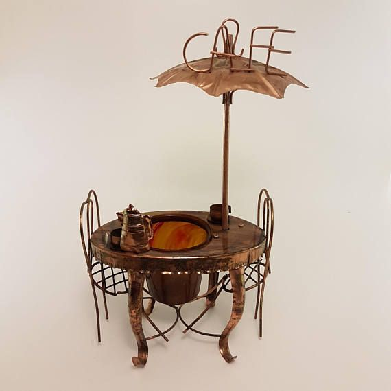 copper cafe bistro table, chairs and umbrella - decor