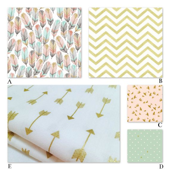Crib Nursery Bedding Girl Woodland Peach, Coral, Mint and Metallic Gold Nursery Bedding for Baby and Crib - The Charlotte Collection
