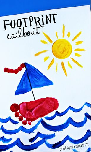 Footprint Sailboat Craft for Kids to Make #Boats | CraftyMorning.com