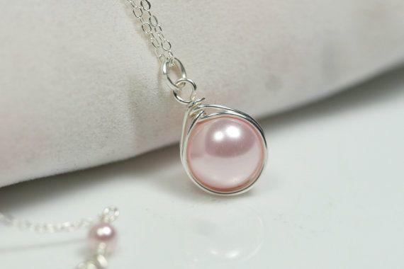 Pink Pearl Necklace Wire Wrapped Jewelry by JessicaLuuJewelry, $30.00
