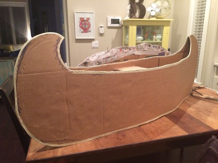 "Cardboard canoe for two people. Created for the play ""Peter Pan"""
