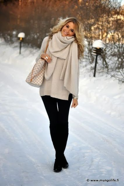 Keep winter style looking tailored by pairing oversized sweaters with slim fit pants. #Winter fashion