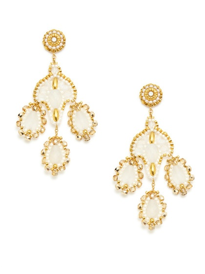 Gold Bead Chandelier Earrings by Miguel Ases