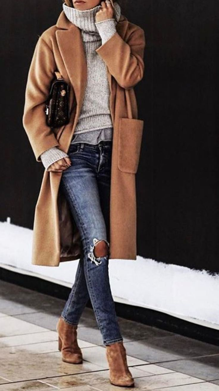 Love this look – All neutrals, that camel jacket, chunky grey sweater, jeans & b…