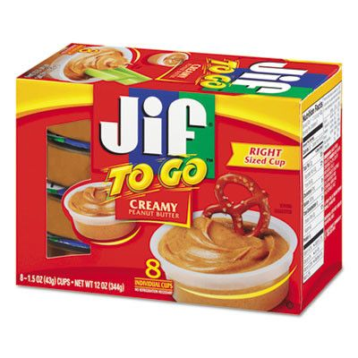 Portable, disposable, easy-to-use Jif® peanut butter containers are great for dipping. They're also good for controlling portion size. Food Type: Peanut Butter; Flavor: Creamy Peanut Butter; Capacity