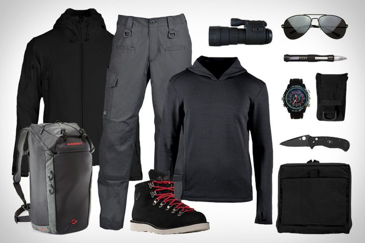 Look good wherever you're stationed. TAD Stealth Hoodie LT ($475). TAD Flux Hoodie ($170). TAD Force 10 RS Cargo Pant ($119). TAD OP1 Pouch ($55-$65). TAD iComm Pouch ($20-$25). Mammut Neon Gear 45 Climbing Pack ($100). Danner Mountain Light Stark Boots ($330). Spy Camera Watch ($108). Premium Military Metal Aviator ($10). Spyderco Citadel Knife ($240). Sightmark Ghost Hunter 5x60 Night Vision Monocular ($280). Spy Net: Voice Recording Spy Pen ($12).