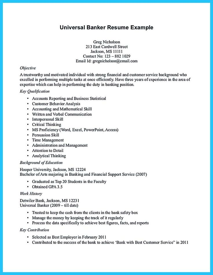 nice One of Recommended Banking Resume Examples to Learn, resume - banker resume example