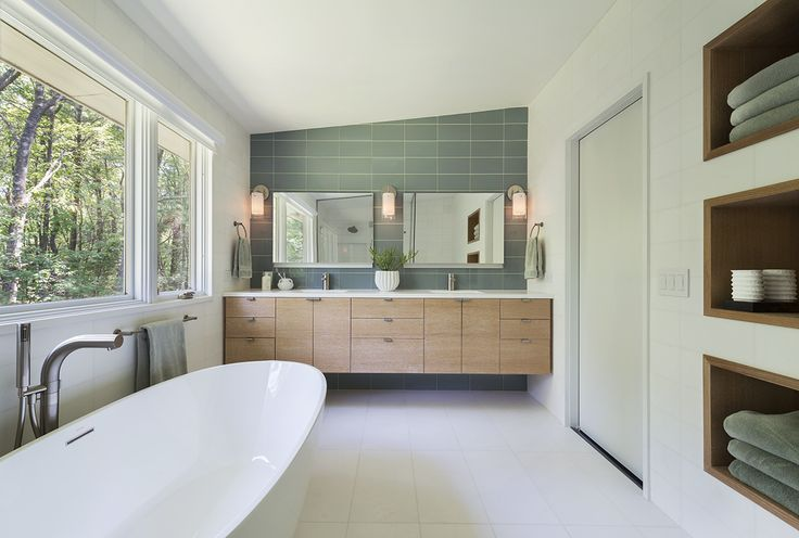 Inspiring Mid Century Modern Bathroom for Your Home: Freestanding Bathtub And Tub Faucets With Window Treatment For Mid Century Modern Bathroom Also Mid Century Modern Vanity And Tile Backsplash With Bathroom Mirror Plus Mid Century Vanity Light