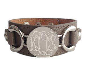 Monogrammed Silver Mocha Leather Cuff Bracelet