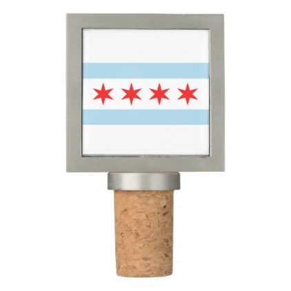 Patriotic Wine Stopper with Flag of Chicago - trendy gifts cool gift ideas customize