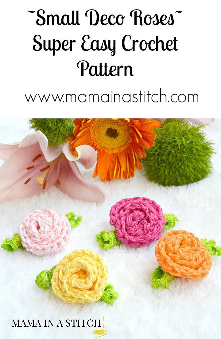 Easy and free pattern for little crochet roses. These work up super fast and are beginner friendly!