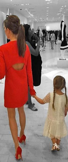 When Victoria Beckham launched her line at Barney's, she brought along 3-year-old Harper and shared a sweet snap of the mother-daughter duo holding hands on Instagram | cynthia reccord