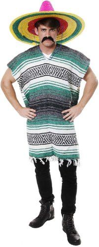 cool New Adult Mexican Poncho Fancy Dress Costume Mens National Outfit Mexico Party (Green)