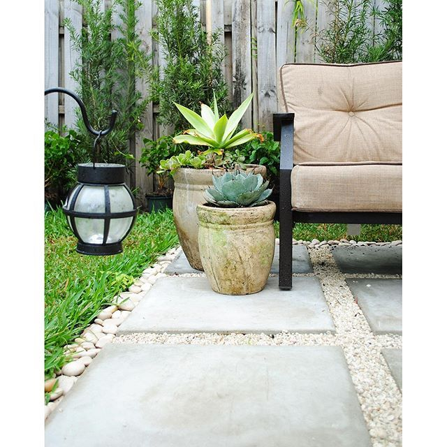 From having a very damp area in our #patio where no grass grew we now have this seating area that was created by laying down a grid of concrete pavers gravel and some white rocks for the border. #Minimal and functional. by idknowhowshedoesit