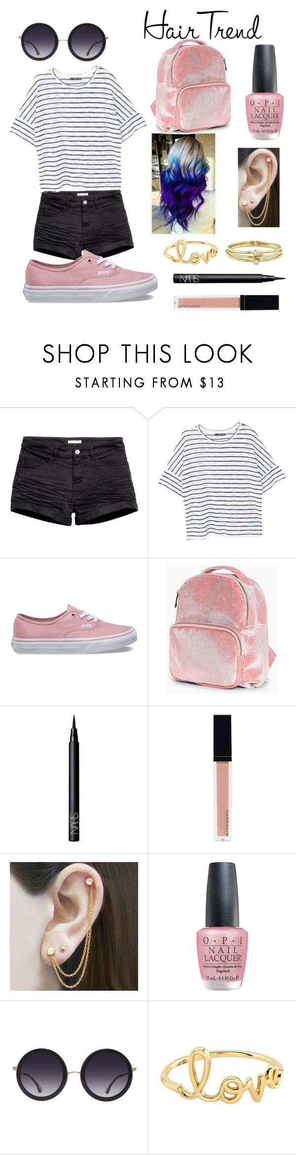 """Hair Trend"" by lexisnotcool ❤ liked on Polyvore featuring beauty, H&M, MANGO, Vans, Boohoo, NARS Cosmetics, Witchery, Embers Gemstone Jewellery, OPI and Alice + Olivia"