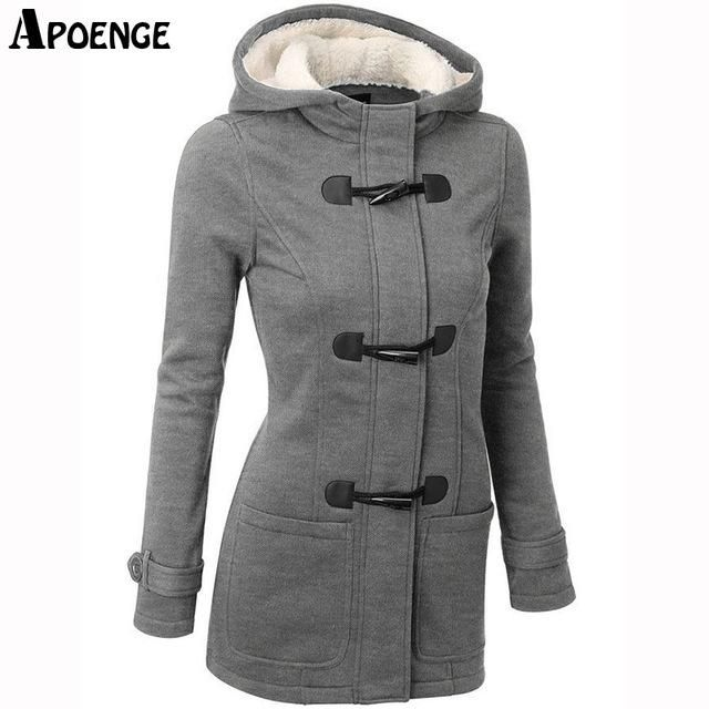 APOENGE Womens Hoodies and Sweatshirts 2017 Autumn Winter Female Hooded Warm Overcoat Zipper Horn Button Long Coat moletom QN391
