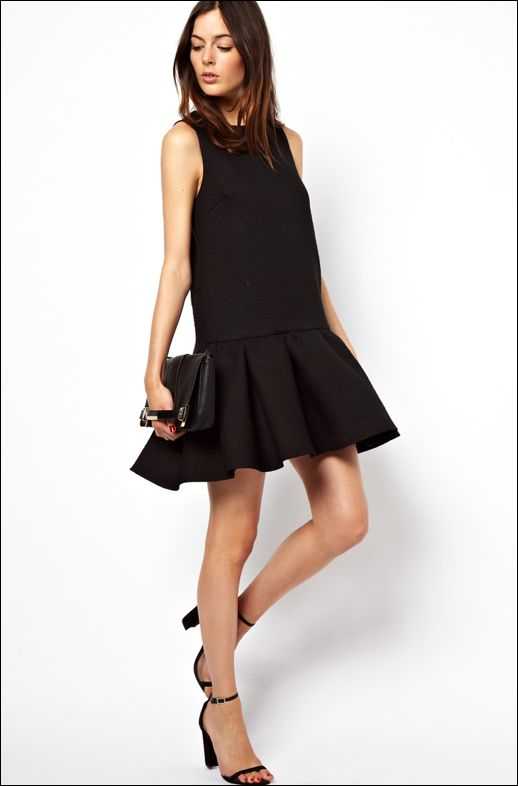 + ASOS Quilted Drop Waist Shell Dress + ASOS Clutch Bag With Corner Plate And Side Strap + ASOS Hometown Heeled Sandals