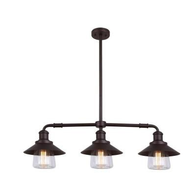 CANARM Indi 3-Light Bronze Pendant with Clear Glass-IPL521A03ORB - The Home Depot