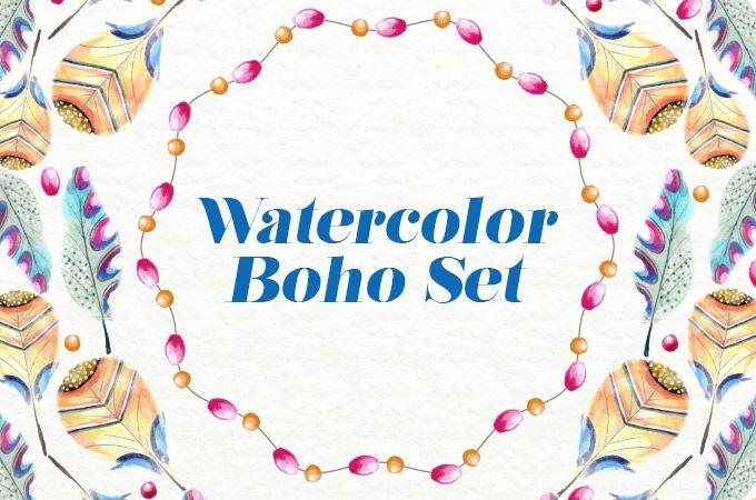 free_watercolor_boho_set