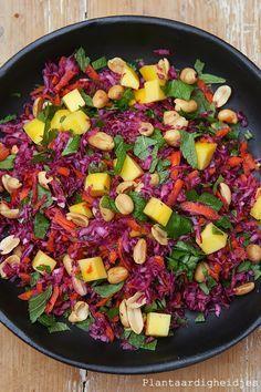 Plantaardigheidjes: Rode kool salade met mango en kruiden