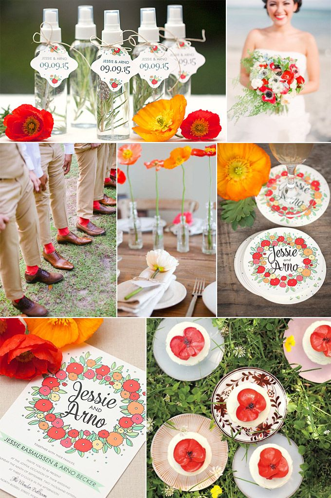 Wedding Inspiration Board featuring Evermine's Summer Poppy Invitations, Favor Tags, and Personalized Coasters (www.evermine.com)