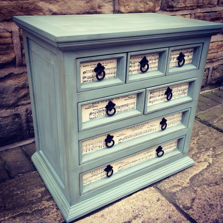 Chunky chest of drawers in Duck Egg Blue Chalk Paint and music sheet decoupage…