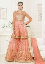 Wedding Wear Peach Net Embroidered Work Anarkali Suit
