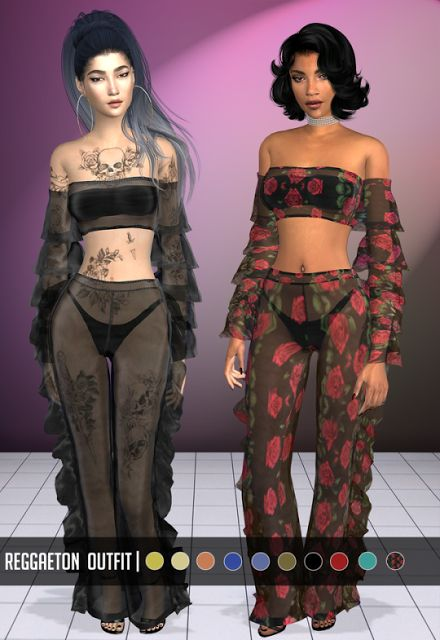 REGGAETON OUTFIT by Vittler for The Sims 4
