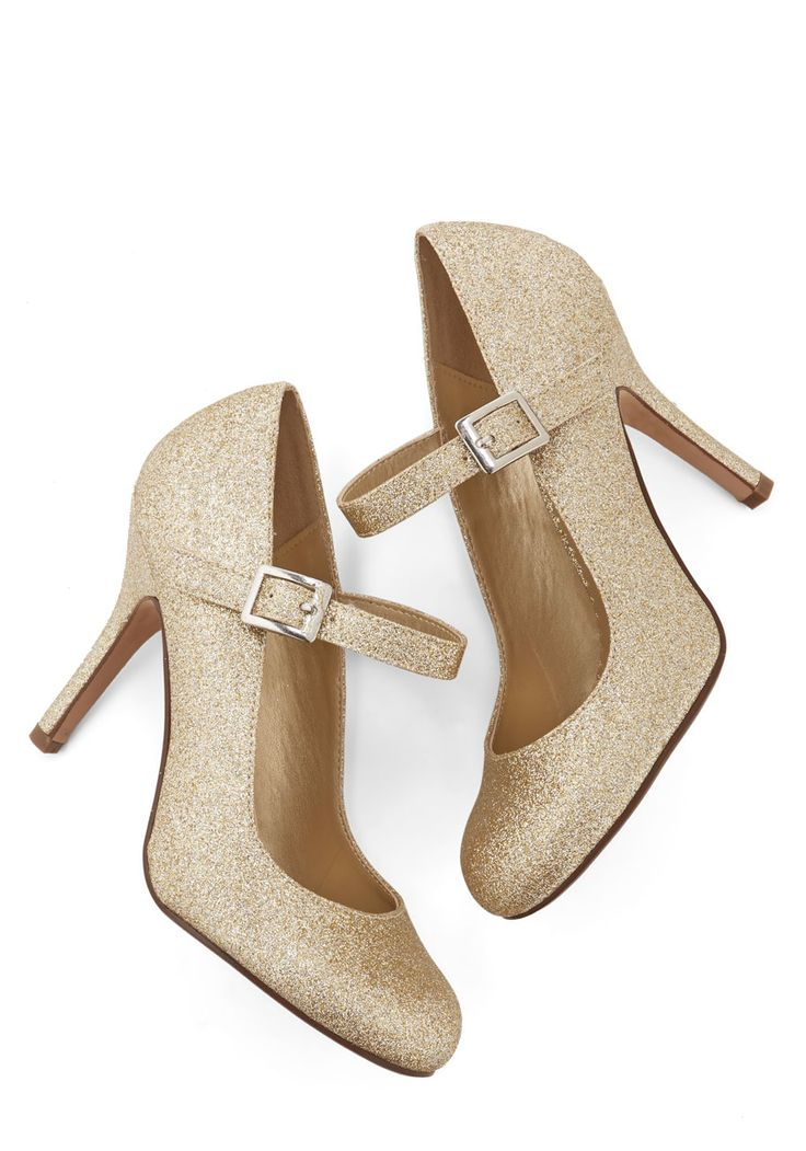 Yes I Candescent Heel in Gold. Nothing can shake your positive visions of tonights soiree when youre in these gold glitter Mary Jane heels! #gold #prom #wedding #bridesmaid #bride #modcloth