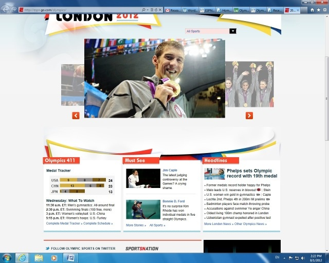 IMG 311: The front page of American sports news outlet ESPN features a large photograph of swim sensation, Michael Phelps, receiving a gold medal. The heavy tendency to cover his achievements is proved by the fact that he is highlighted twice on this page alone. In contrast, South Korean athlete, Shin Lam, is captured crying. She is the only foreign athlete on the page.