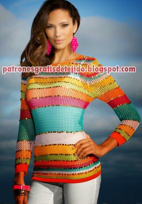 Precioso suéter de dama - tricot / dos agujas | Crochet y Dos agujas