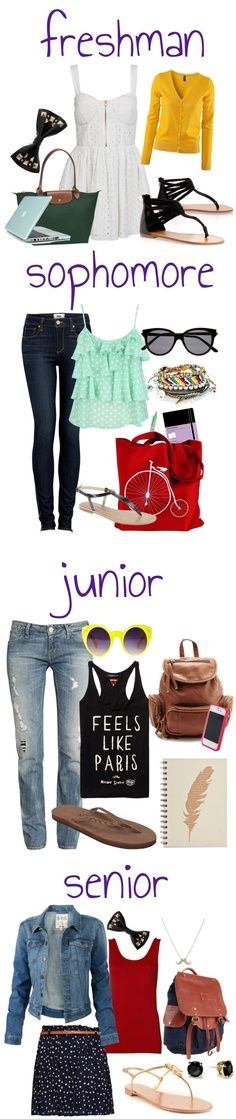High School Fashion!!! Although for me it would be sweatpants and jeans with thshirts and sweatshirts all the way thru, with maybe the occasional dress lol