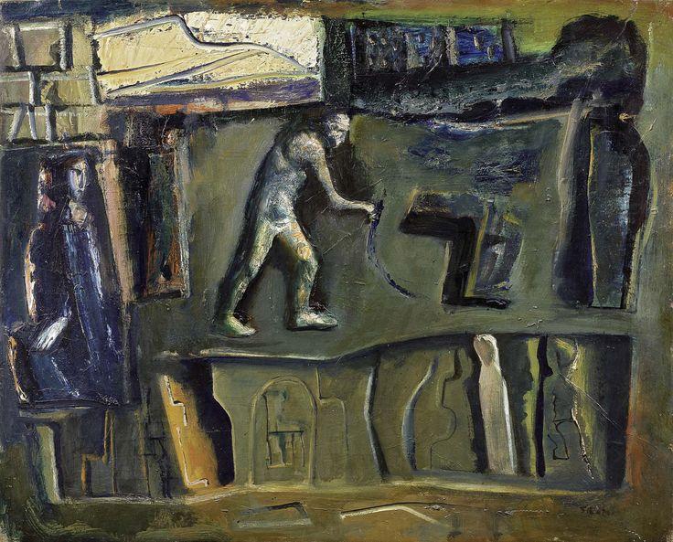 Mario Sironi (Italian, 1885-1961), Composizione, c.1954. Oil on canvas, 80.5 x 100.5 cm.