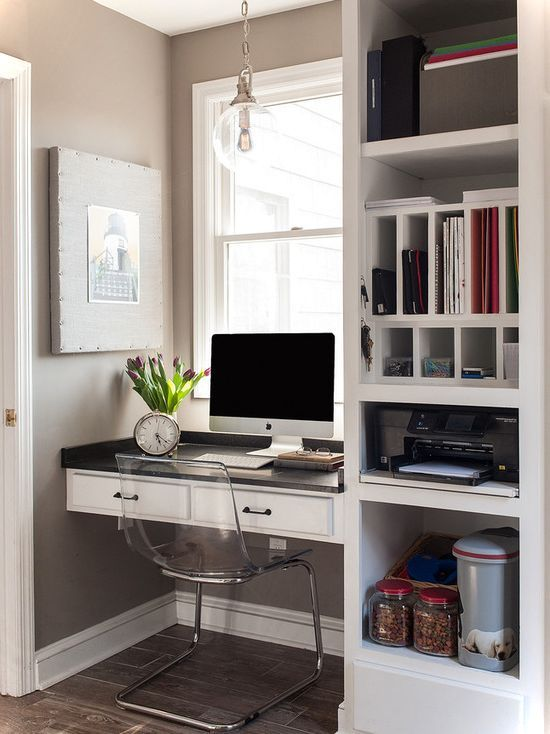 Compact White Small House Office