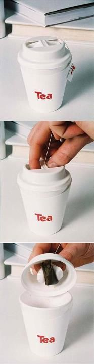Tea bag lid (packaging design). Smart!