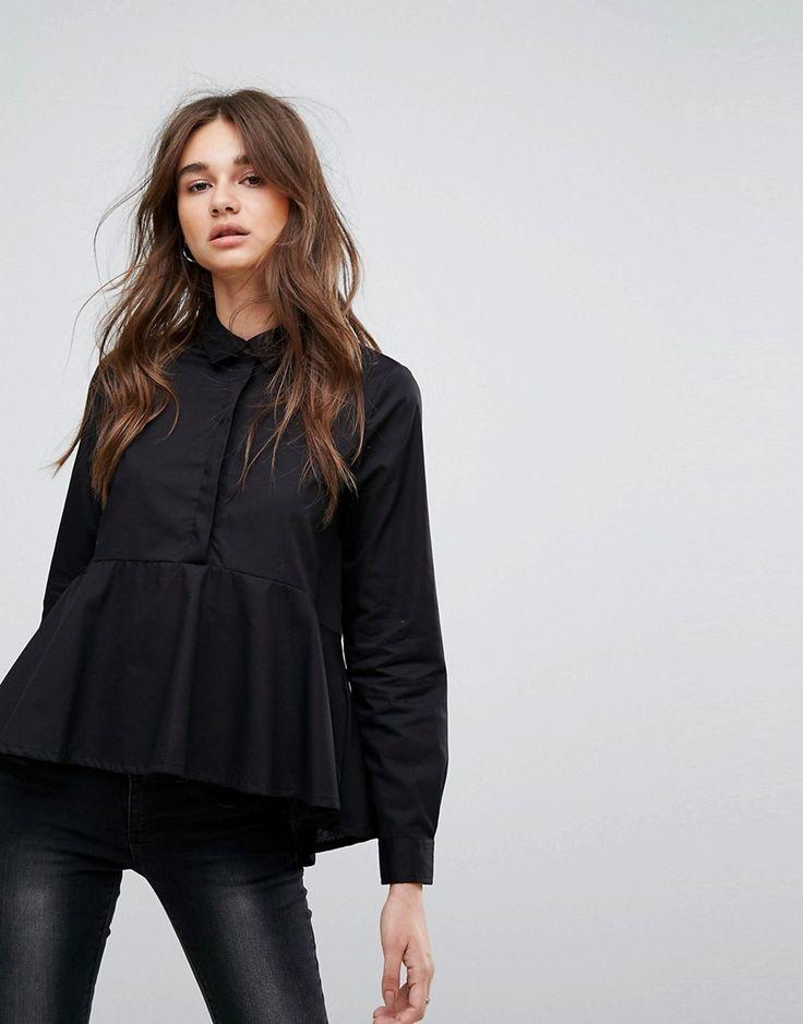 Noisy May Kyra High Low Shirt - Black
