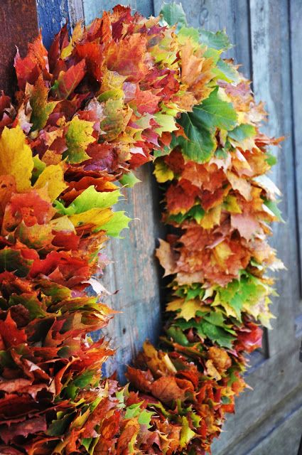 A lush and full leaf wreath to adorn the entry of your home all autumn long! I bet you could use fake leaves to make its last for years to come.