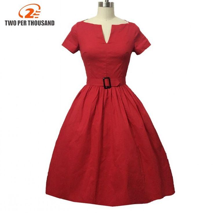Dos Por Cada Mil Mujeres de Elegante Estilo 50 s 60 s Vintage Vestido Ucrania Damas de Talla grande rojo 1950 s Vestido de Swing Vestido de Fiesta Vestidos en Vestidos de Ropa y Accesorios de las mujeres en AliExpress.com | Alibaba Group