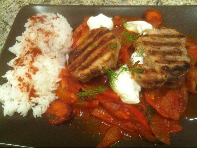 Jamie Oliver: 15 Minute Meals: Pork Steaks & Hungarian Pepper Sauce 185 cal for goulash