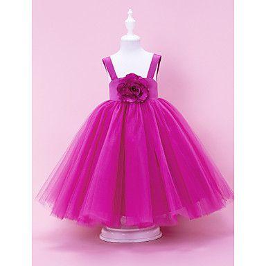 Fabulous Ball Gown Tull Over Satin Flower Girl Dress – USD $ 89.99