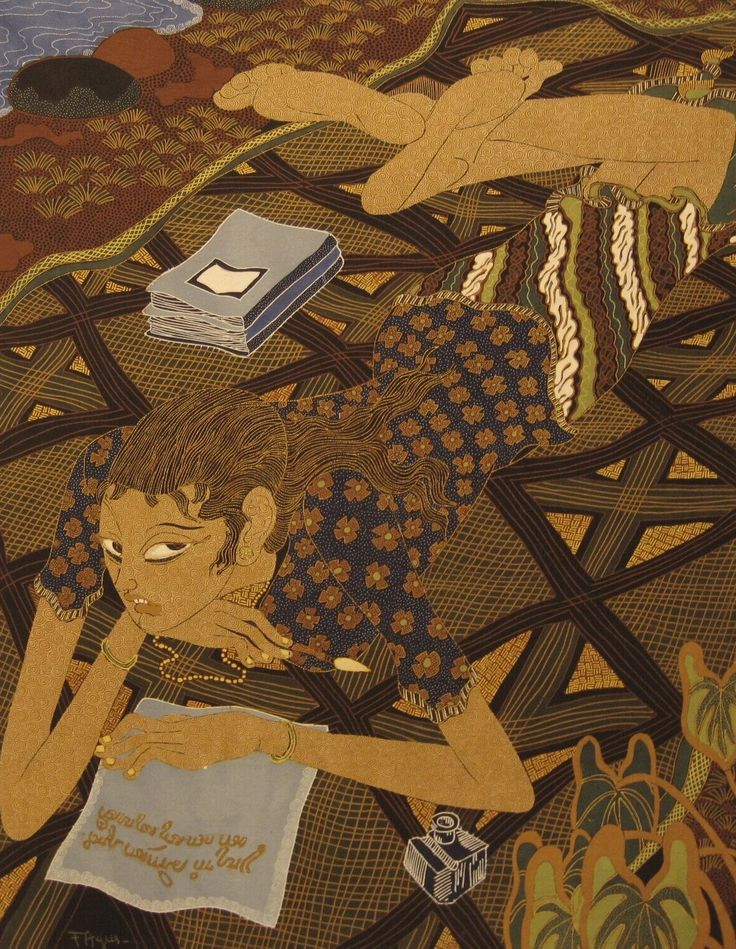 """Modern batik painting by F. Agus with the text: """"I'm writing a letter ...."""", Indonesia. Museon, CC BY"""