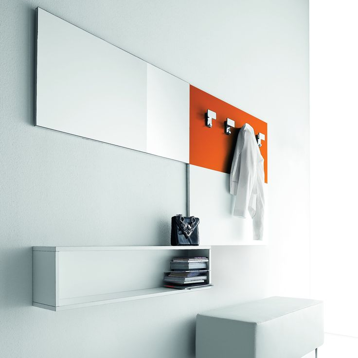 Wall Unit 'Hook', bright orange, mirror and drawers. Great for every room, luxury materials.