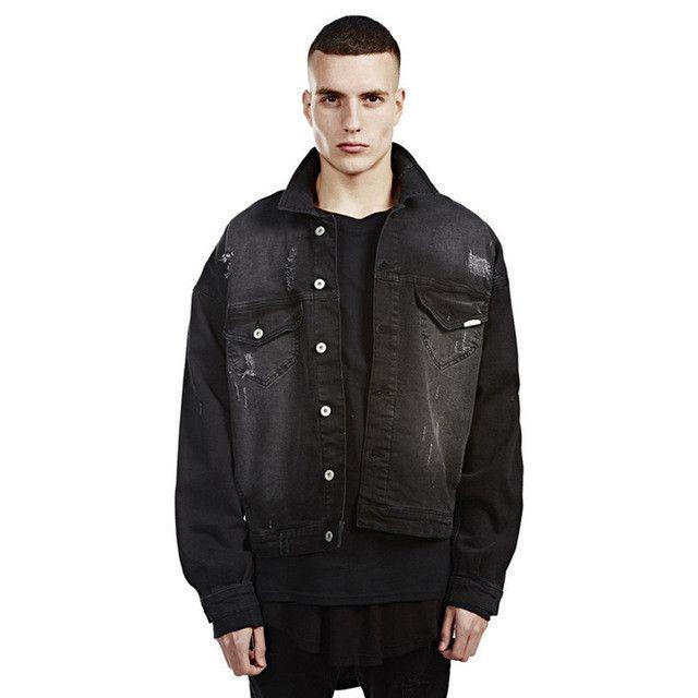 Men's Jackets Mens Oversized Denim Jackets Hip Hop Street Fashion Jackets