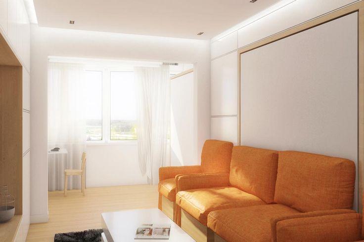 104 серия, квартира-трансформер Для двухкомнатной квартиры 104 серии разработан дизайн трансформируемой мебели. Так в гостиной появилась гардеробная комната, диван, выезжающая кровать (даже две кровати, если такую же ставить на лоджии), стол для большой компании гостей, а также кинопроектор.