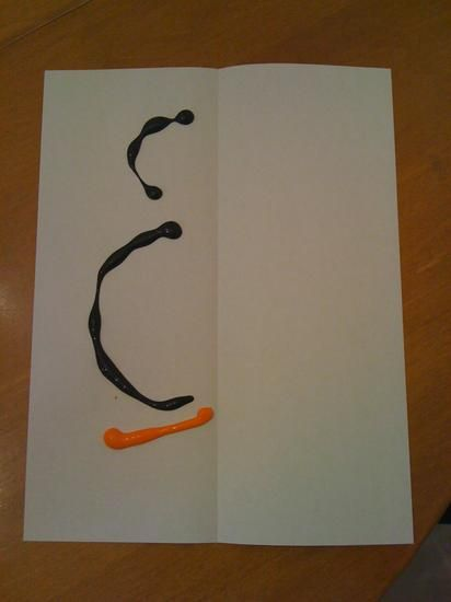 Penguin- blots of paint on a piece of white construction paper