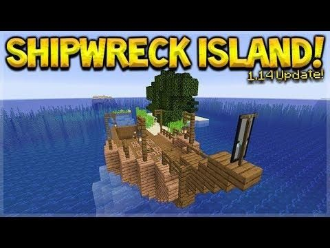 Minecraft 1 14 Shipwreck Survival Island The Grindstone Disenchanter Dinnerbone Seed Island Survival Minecraft Minecraft Ships