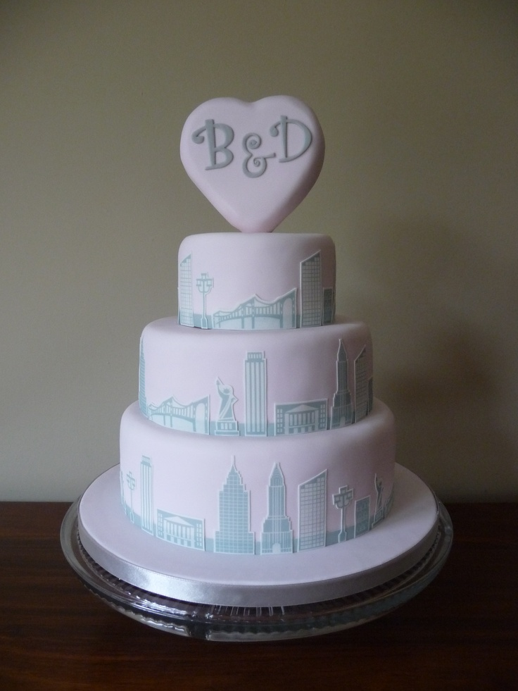 "This is a 3 tier wedding cake that I set up for a wedding today. It's made up of 9"", 7"" and 5"" tiers of victoria sponge. The wedding was New York themed so I created the NYC skyline graphics and then printed these on my edible printer.  #New York Wedding Cake"